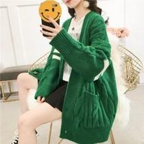 170斤孕妇毛衣外套春秋冬针织开衫V领长袖韩版宽松大码女学生上衣