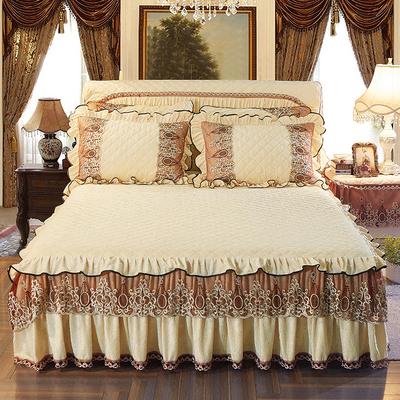 冬季加厚水晶绒床裙 法兰绒蕾丝夹棉防滑床罩双人1.8米天鹅绒床笠十大品牌