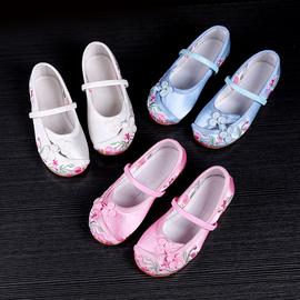 新款老北京女童绣花鞋民族风儿童布鞋传统布鞋童鞋公主宝宝汉服鞋图片