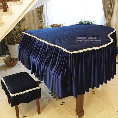 定做欧式高档丝绒三角钢琴罩加厚韩国绒金边三角防尘罩套装配凳罩