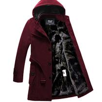 冬天男士加绒风衣韩版中长款修身帅气青年呢子外套男冬季加厚大衣