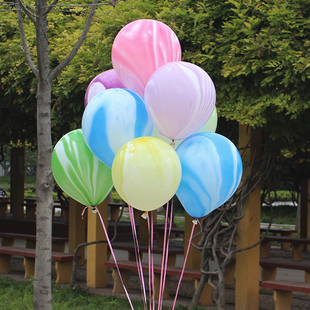 彩云云彩气球12寸玛瑙气球生日派对创意布置结婚庆房用品装饰汽球
