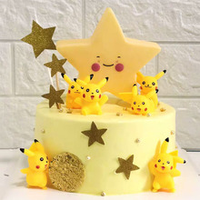 Birthday Cake Decoration Pokbaby Pet Elf Pikachu Luminescent Pentagonal Night Light Accessories L
