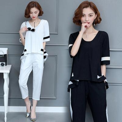 大码女装休闲时尚套装2018夏季韩版胖mm宽松藏肉遮肚减龄两件套潮