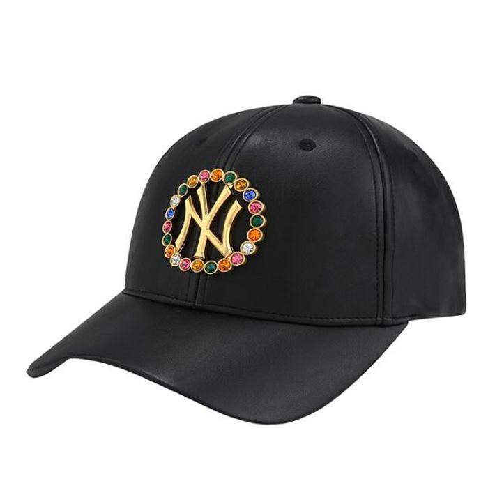 MLB韩国代购 18新男女同款棒球帽 亮钻字母鸭舌帽 青年皮质帽子