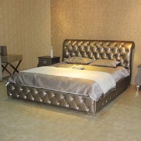 欧式新古典家具 后现代皮床 卧室软床 真皮双人床 定制真皮大床