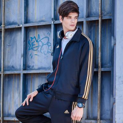 阿迪达斯夹克男装 新款针织外套 休闲运动保暖夹克上衣经典运动服