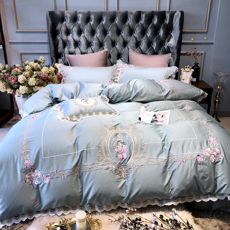 四件套全棉纯棉床单被套欧式家纺1.8m床1.5双人贡缎刺绣床上用品