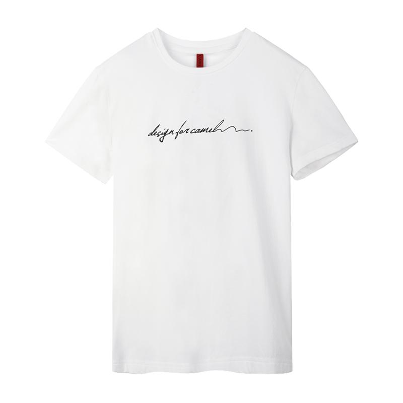 骆驼男装 2018夏季新款印花圆领半袖上衣男生打底衫休闲潮短袖t恤