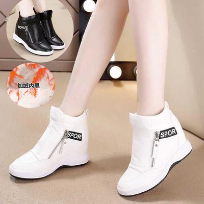 女鞋休闲内增高鞋坡跟厚底松糕运动鞋高帮鞋字母小白鞋单鞋侧拉链