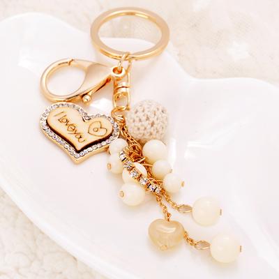 韩国版串珠球球钥匙扣女款创意汽车钥匙圈链流苏包包挂件吊坠饰品