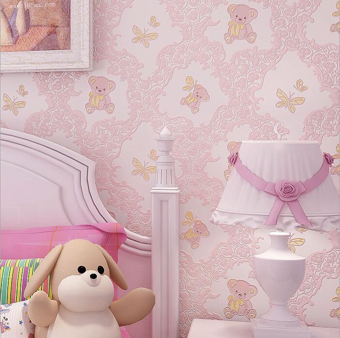 儿童房壁纸环保卡通小熊男孩女孩卧室可爱粉色公主房3d无纺布墙纸