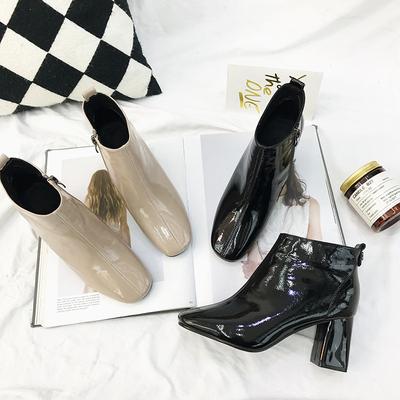 断码特价方头马丁靴及踝靴单靴2018秋冬黑色高跟鞋女粗跟漆皮短靴
