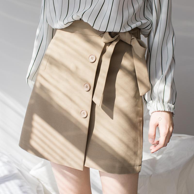 EGGKA2018春季新款排扣绑带高腰半身裙a字裙裤蝴蝶结裙子包臀短裙