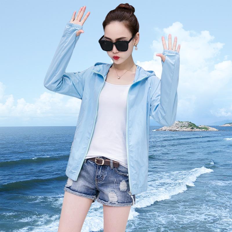 2019春夏新款薄款透气防晒衣女装防紫外线沙滩服户外百搭短外套衫