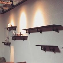 墙上置物架复古墙壁实木隔板壁挂一字搁板铁艺书架墙面水管装饰架