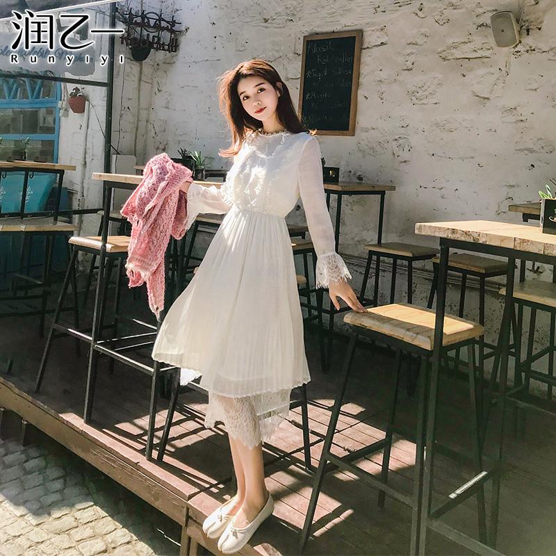 韩版雪纺长袖连衣裙