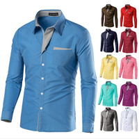 Men's stripes shirts boys long sleeves slim T-shirt man tops