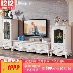 特价欧美法式酒柜实木客厅小高矮单双门酒柜电视柜组合白色储物柜