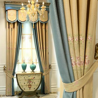 穆丽雅 高档棉麻提花美式田园遮光窗帘成品豪华客厅卧室欧式窗帘旗舰店