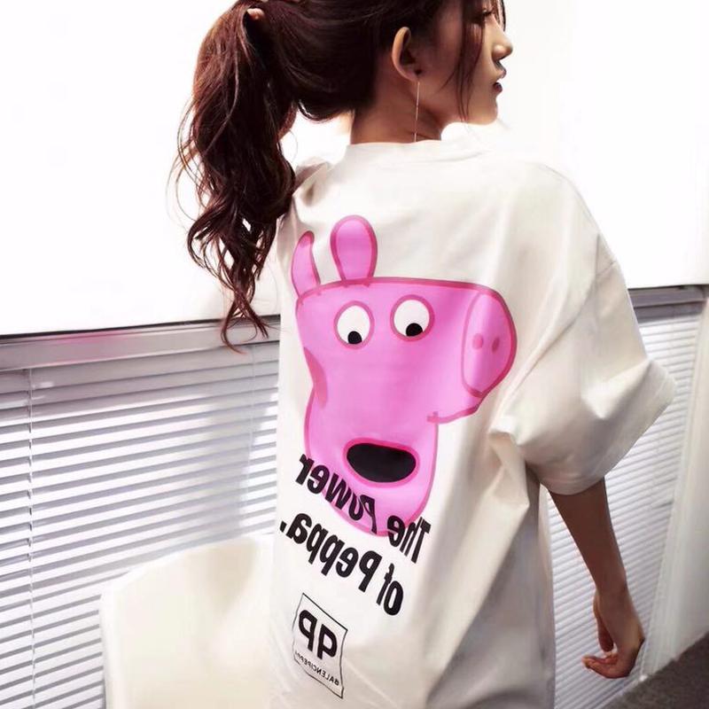 孕妇装夏装小猪佩奇字母T恤裙中长款卡通连衣裙时尚大码孕妇裙子