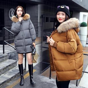 反季棉衣女中长款冬装韩版宽松毛领加厚学生羽绒棉服蝙蝠袖面包服
