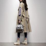 风衣女中长款2018新款春秋季韩版时尚拼接假两件外套百搭显瘦女装