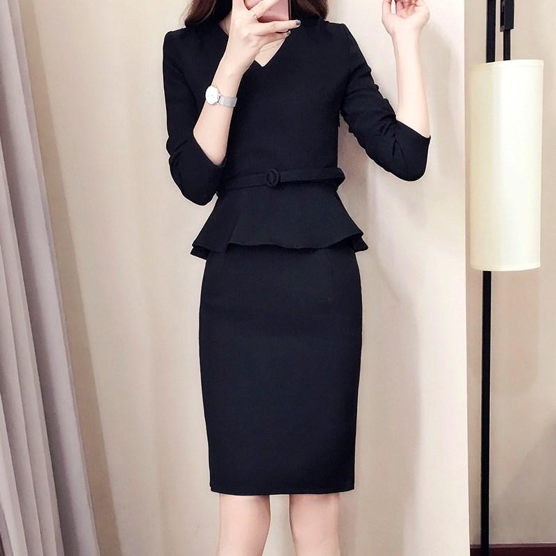 职业装连衣裙秋v领