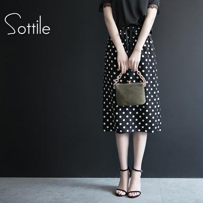 波点半身裙夏女高腰中长款包臀裙一步裙2018新款包裙chic雪纺裙子