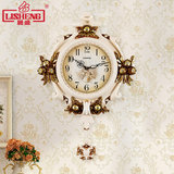 Lisheng European-style wall clock living room silent home clock creative pastoral atmosphere decorated quartz pendulum wall clock