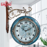 Lisheng European double-sided wall clock living room atmosphere American silent quartz clock home hangwatch fashion personality clock
