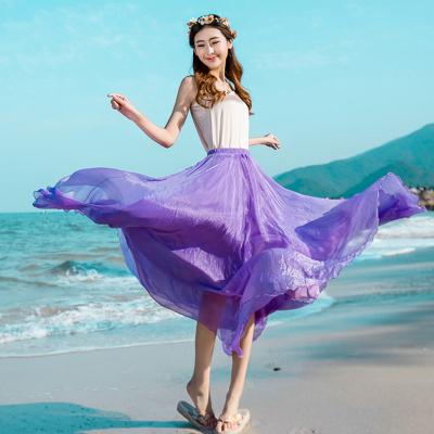 雪纺中长款半身裙8米大摆飘逸长裙仙女高腰度假沙滩裙子夏女网纱