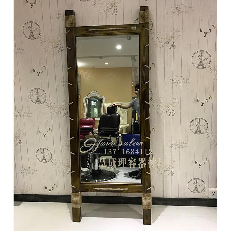 复古实木发廊店专用美发镜台椅柜子剪发镜美容梳卸化妆镜台高清镜