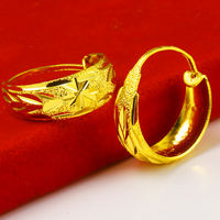 Genuine gold earrings 9999 pure gold female models 24k pure gold mother mother-in-law elderly jewelry earrings new