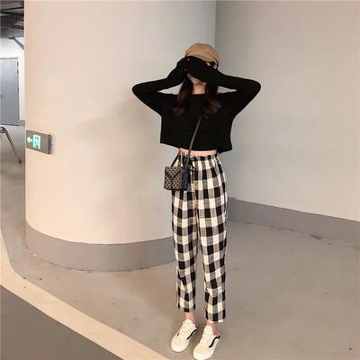 韩版初秋街拍套装女小心机宽松短款长袖T恤+格子棉麻休闲九分裤潮
