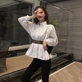 2019新款女装春装港味设计感心机上衣收腰内搭白衬衣百搭长袖衬衫