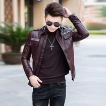 男式加厚保暖机车皮衣韩版时尚潮流修身皮夹克青年潮男加绒皮外套