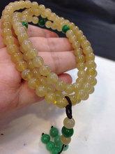 缅甸玉翡翠A货冰种黄翡珠子项链手链手串108颗女款玉石圆珠6.5mm