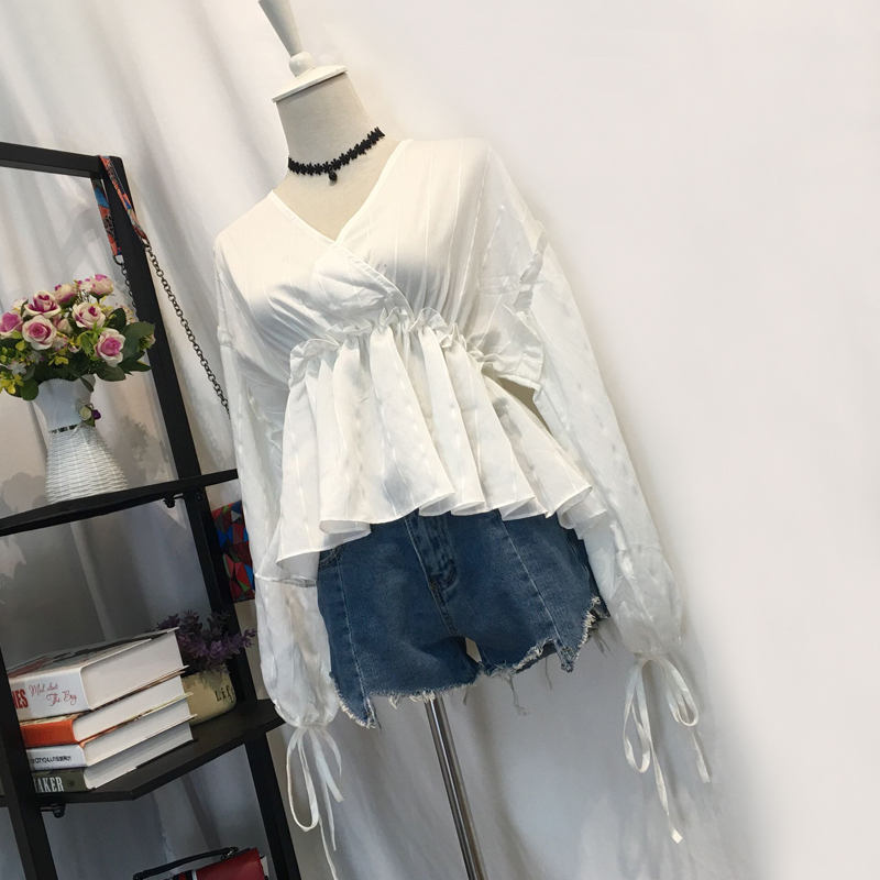 Autumn new sexy women's v-neck striped long-sleeved doll shirt ladies jacket fungus