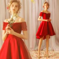 天使嫁衣 高贵红色新娘前短后长款婚纱小礼服敬酒服批发2318t