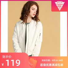 19 Autumn New White Baseball Coat Simple BF Wind-collar Flying Jacket Top for Women