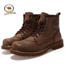 British fashion Martin boots leather leisure men's boots camel boots top leather military boots outdoor tooling boots