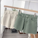 2019 Korea East Gate to do old vintage wool side micro-lama high-waisted cotton denim shorts woman
