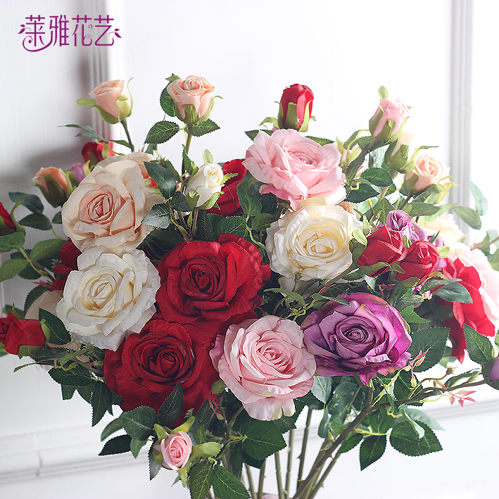 客厅假花仿真花落地玫瑰套装