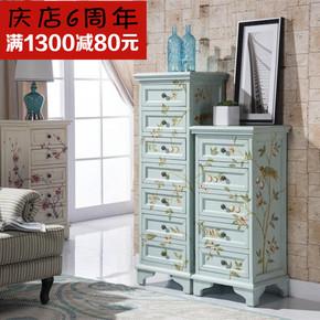 新款手绘复古7抽屉斗柜美式乡村仿古做旧门厅5斗收纳床头柜
