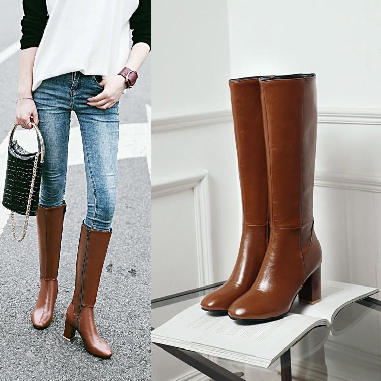 棕色复古方头长靴秋冬高跟侧拉链高筒女靴粗跟黑色骑士靴大码4043