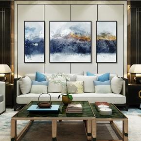 三联画新中式客厅装饰画沙发背景墙画山水中国风现代简约大气挂画