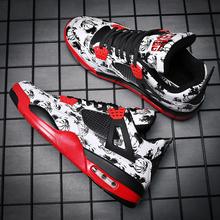 春款气垫运动休闲鞋AJ4低帮篮球鞋韩版板鞋迷彩涂鸦潮鞋个性男鞋