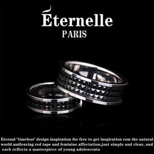 Eternelle情侣戒指 欧美风316钛钢指环 简约对戒女士尾戒节日送礼