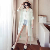 Summer new loose long section vertical stripes chiffon shirt women's thin coat sunscreen shirt wild sunscreen clothes